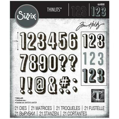 Tim Holtz Sizzix Thinlits Dies Alphanumeric, Shadow Numbers 21/Pkg