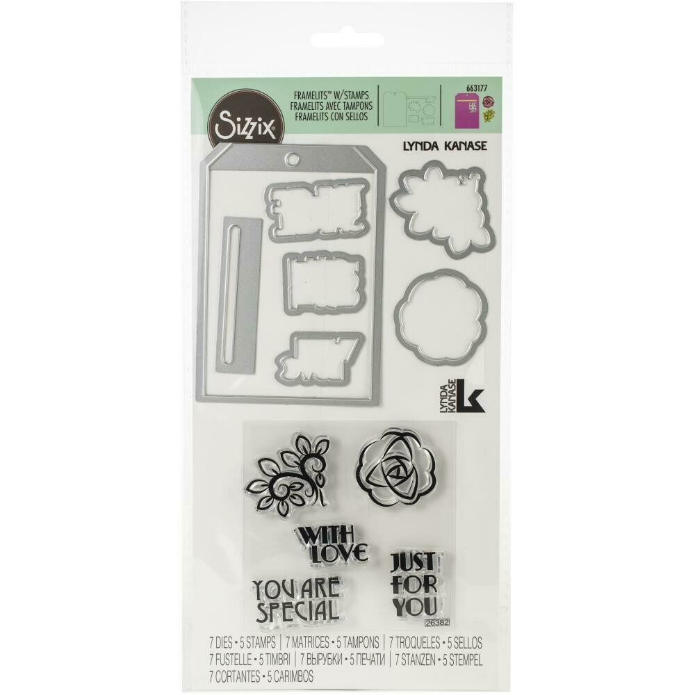 Sizzix Framelits with Tag Pocket with Phrases  12/pkg