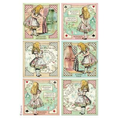 Stamperia Rice Paper Pack A4 Alice Cards