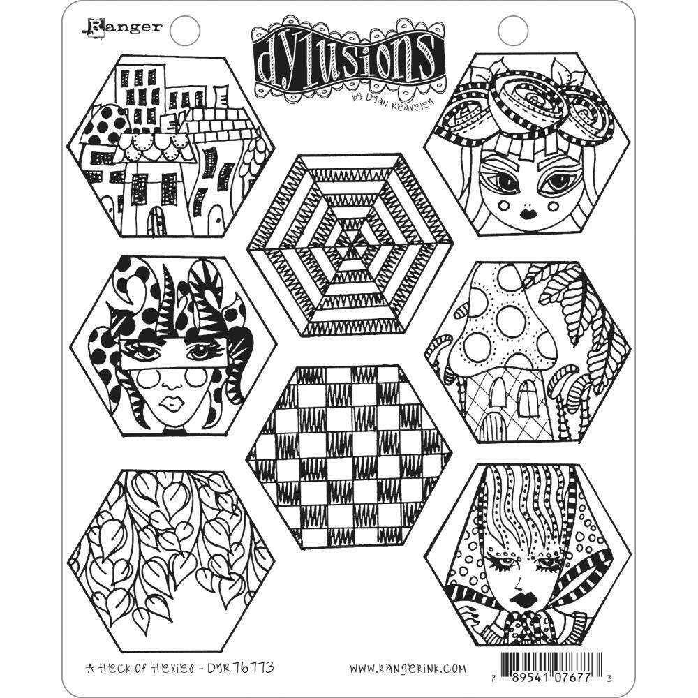 PREORDER Dylusions Cling Stamp A Heck of Hexies