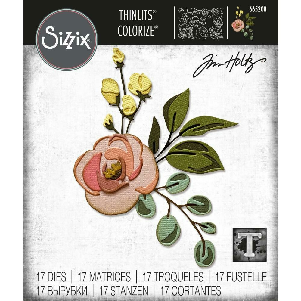 Tim Holtz Sizzix Thinlits Dies Colorise Bloom 17/pkg