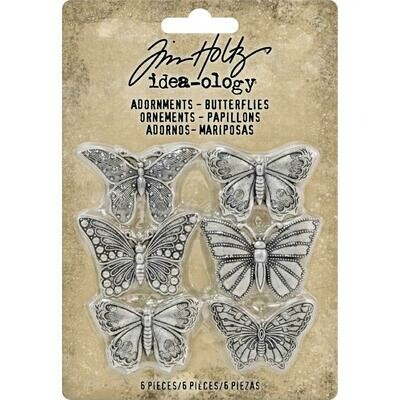 Tim Holtz Idea-Ology Adornments Butterflies 6/pkg