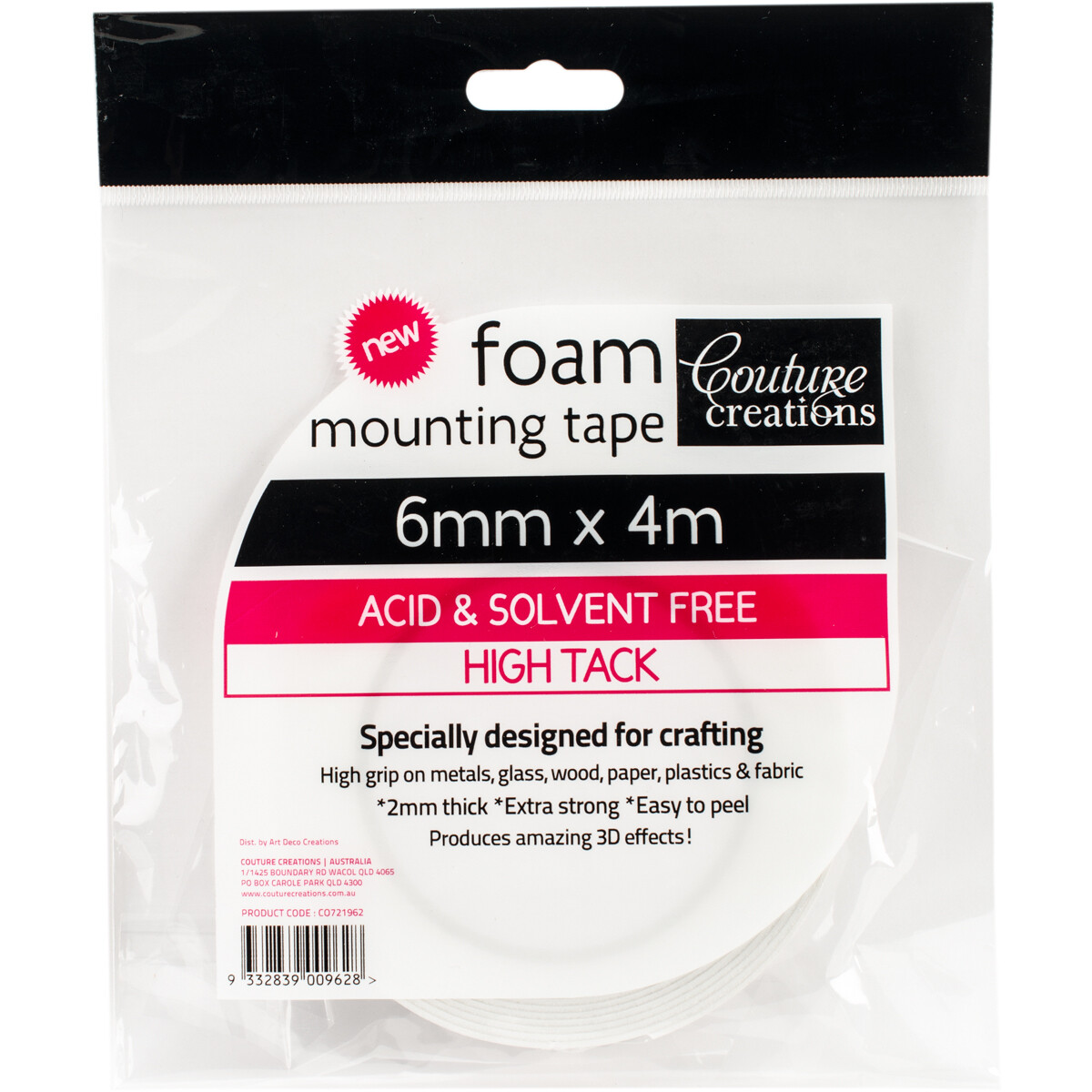 Couture Creations Foam Mounting Tape - High Tack 6mm x 4m