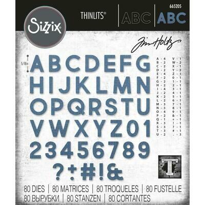 Tim Holtz Sizzix Thinlits Dies Alphanumeric Bold 80/pkg