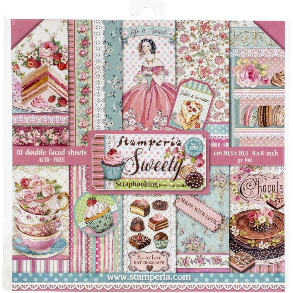 Stamperia Sweety - 8x8 double sided paper 10/pkg