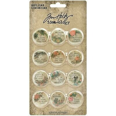 Tim Holtz Idea-Ology Quote Flair 12/pkg