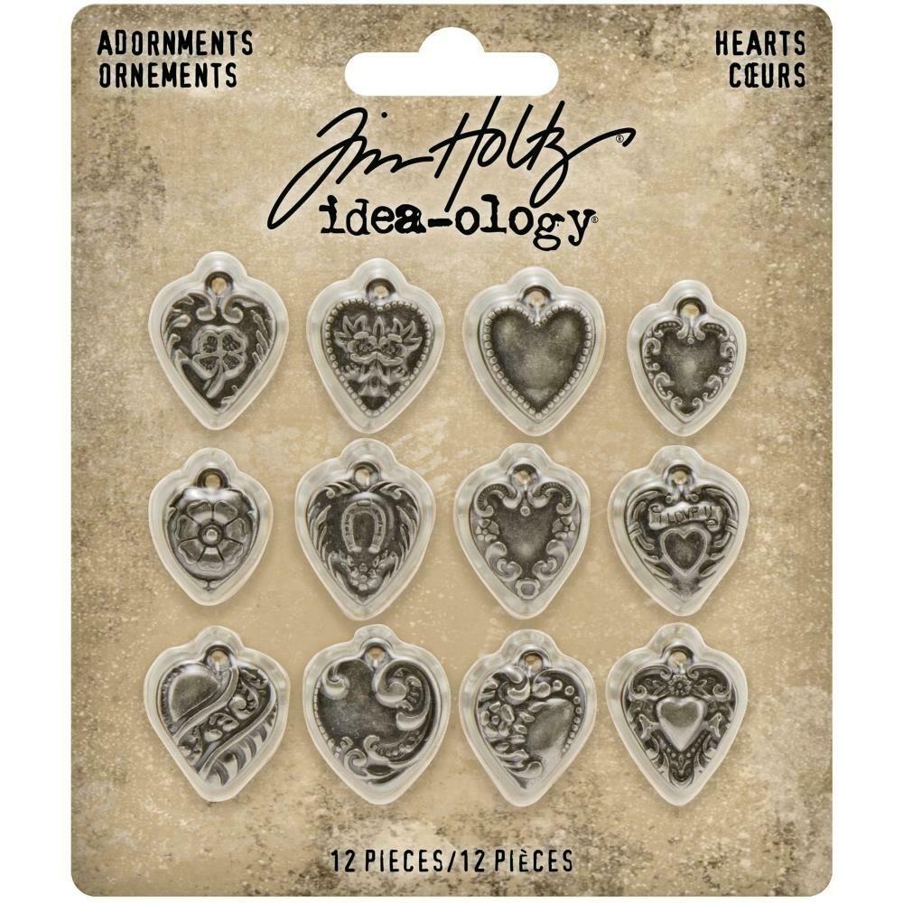 Tim Holtz Idea-Ology Adornments Hearts 12/pkg