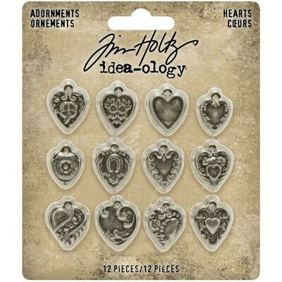Tim Holtz Idea-Ology Adornments Hearts 12/pkg