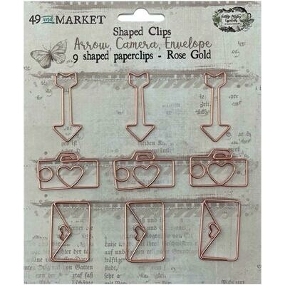 49 and Market Vintage Artistry Essentials Shaped Clips Rose Gold 9/pkg