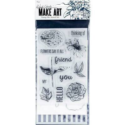 Wendy Vecchi Make Art Stamp, Die and Stencil Set - Flowers Say it All