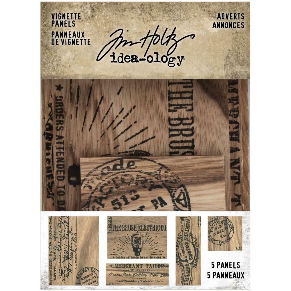 Tim Holtz Idea-Ology Vignette Panels Adverts 5/pkg
