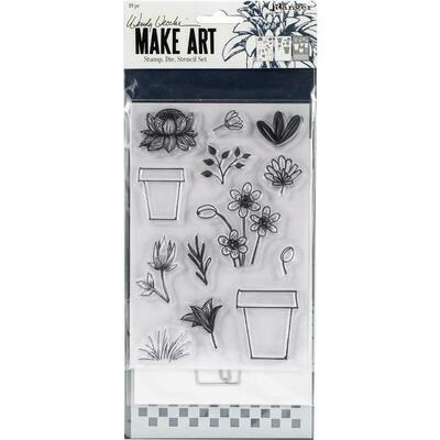 Wendy Vecchi Make Art Stamp, Die and Stencil Set - Flower Pot