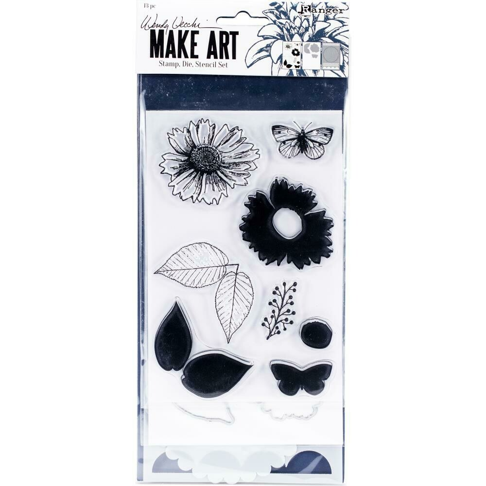 Wendy Vecchi Make Art Stamp, Die and Stencil Set - Country Flowers