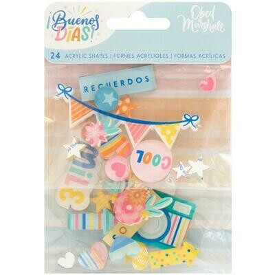 American Crafts Acrylic Shapes Buenos Dias 24/pkg