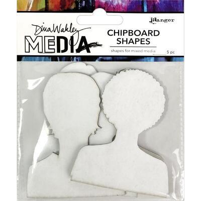 Dina Wakley Media Chipboard Shapes Passport Photos 5/pkg