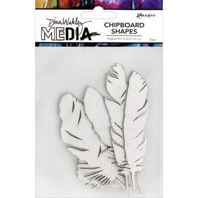 Dina Wakley Media Chipboard Shapes Feathers 5/pkg