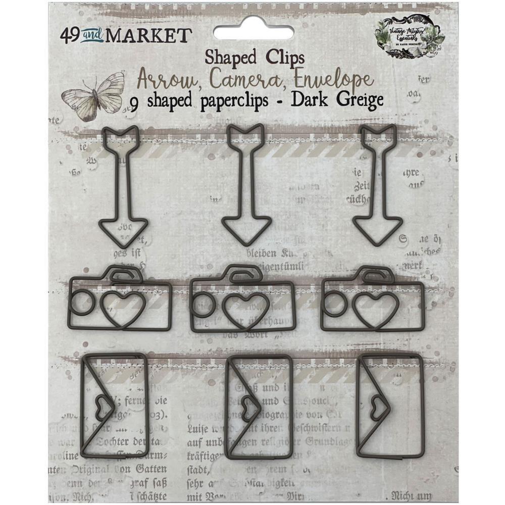 49 and Market Vintage Artistry Essentials Shaped Clips Greige 9/pkg