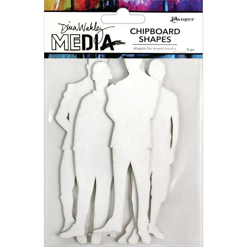 Dina Wakley Media Chipboard Shapes The Men 5/pkg