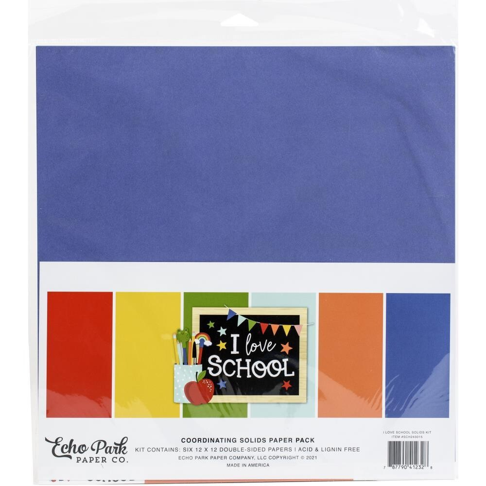 Echo Park I Love School 12x12 Cardstock Pack 6/pkg