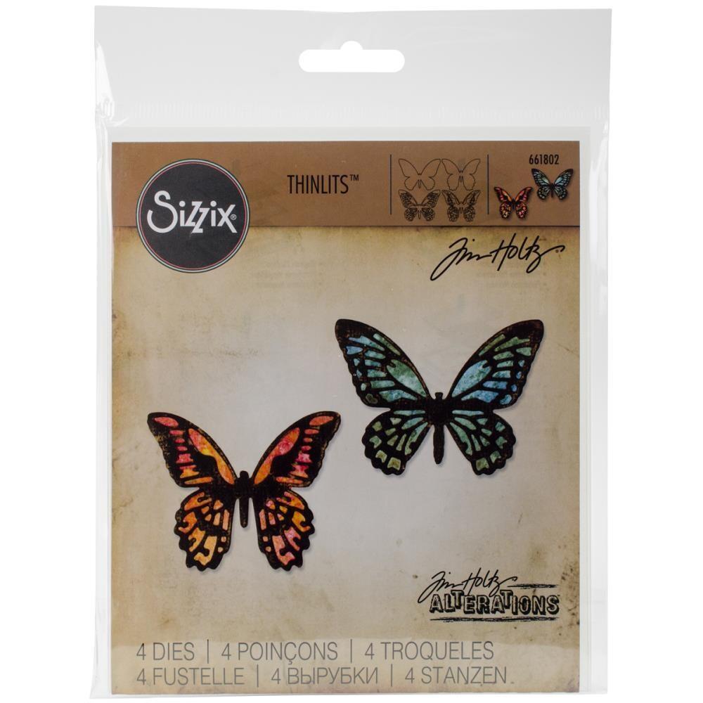Tim Holtz Sizzix Thinlits Die Detailed Butterflies Mini 4/pkg