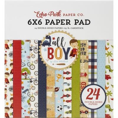 """Echo Park All Boy Double-Sided Paper Pad 6""""X6"""" 24/Pkg"""