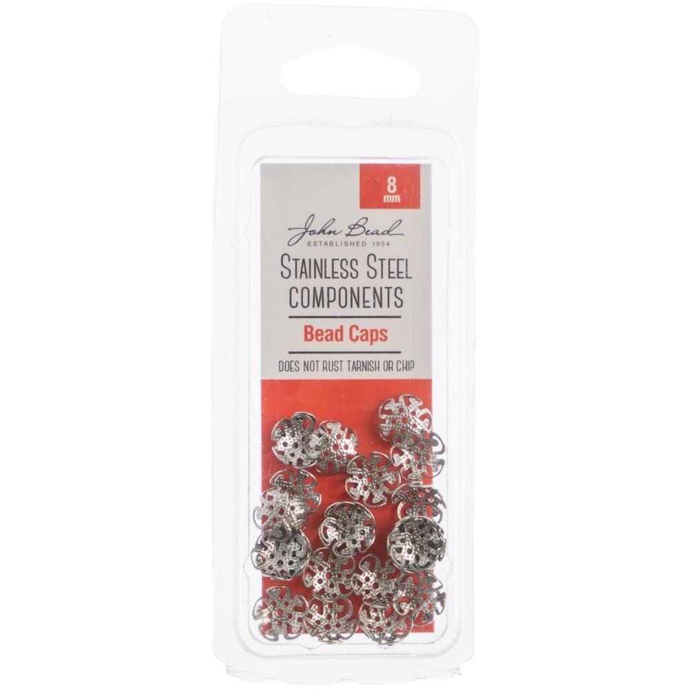 John Bead Stainless Steel Bead Caps 8mm 24/pkg