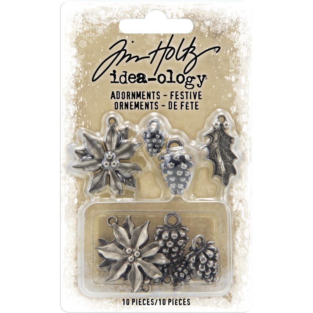 Tim Holtz Idea-Ology Adornments Festive Ornaments 10/pkg