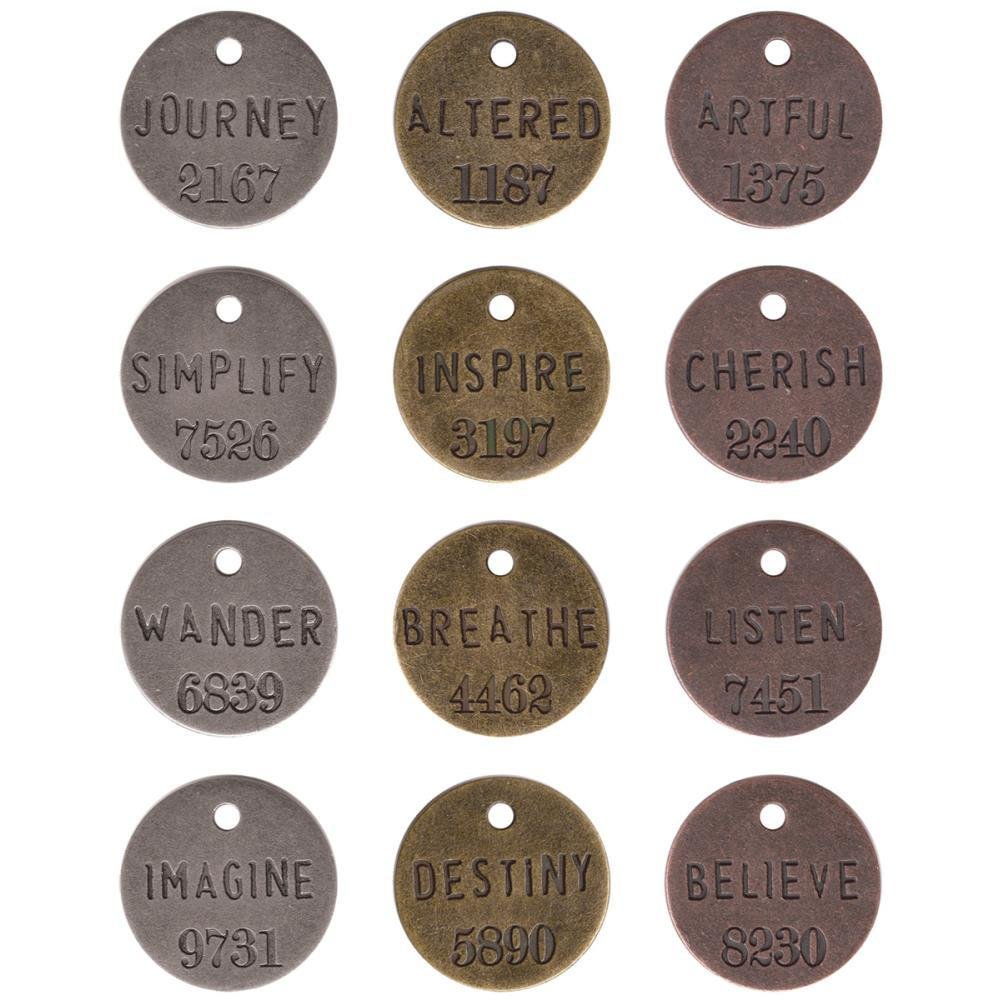 "Tim Holtz Idea-Ology Metal Philosophy Tags 1"" 12/Pkg"