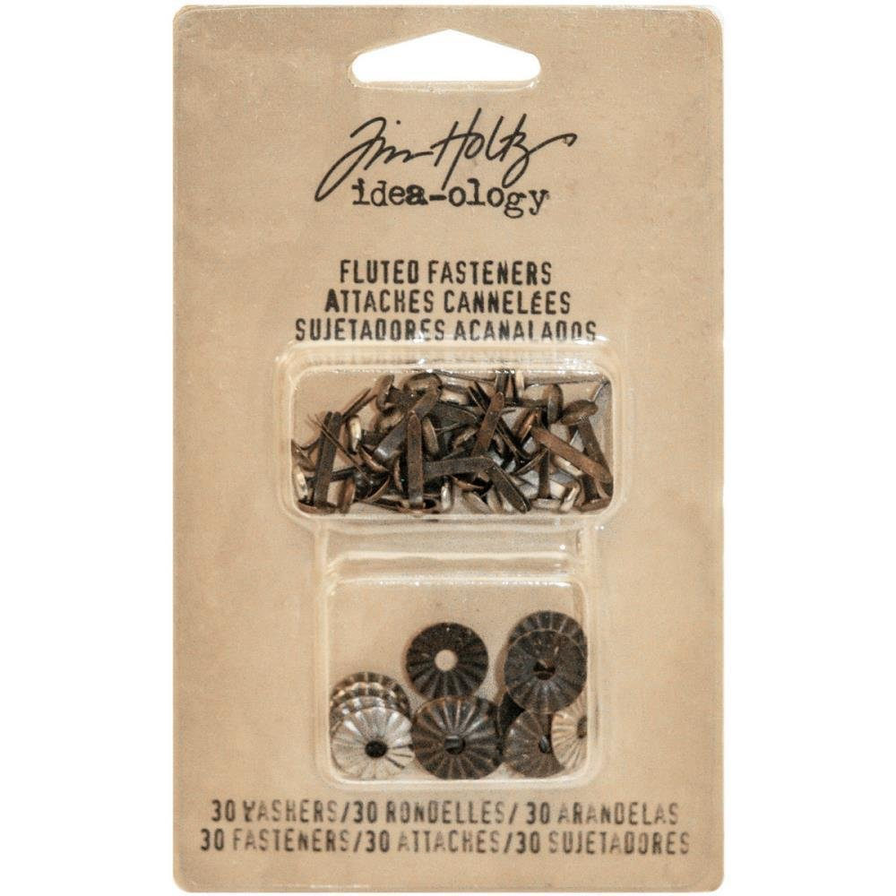 Tim Holtz Idea-Ology Fluted Paper Fasteners W/Washers .5""
