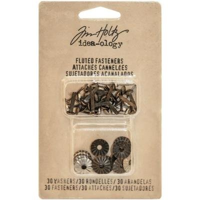 Tim Holtz Idea-Ology Fluted Paper Fasteners W/Washers .5