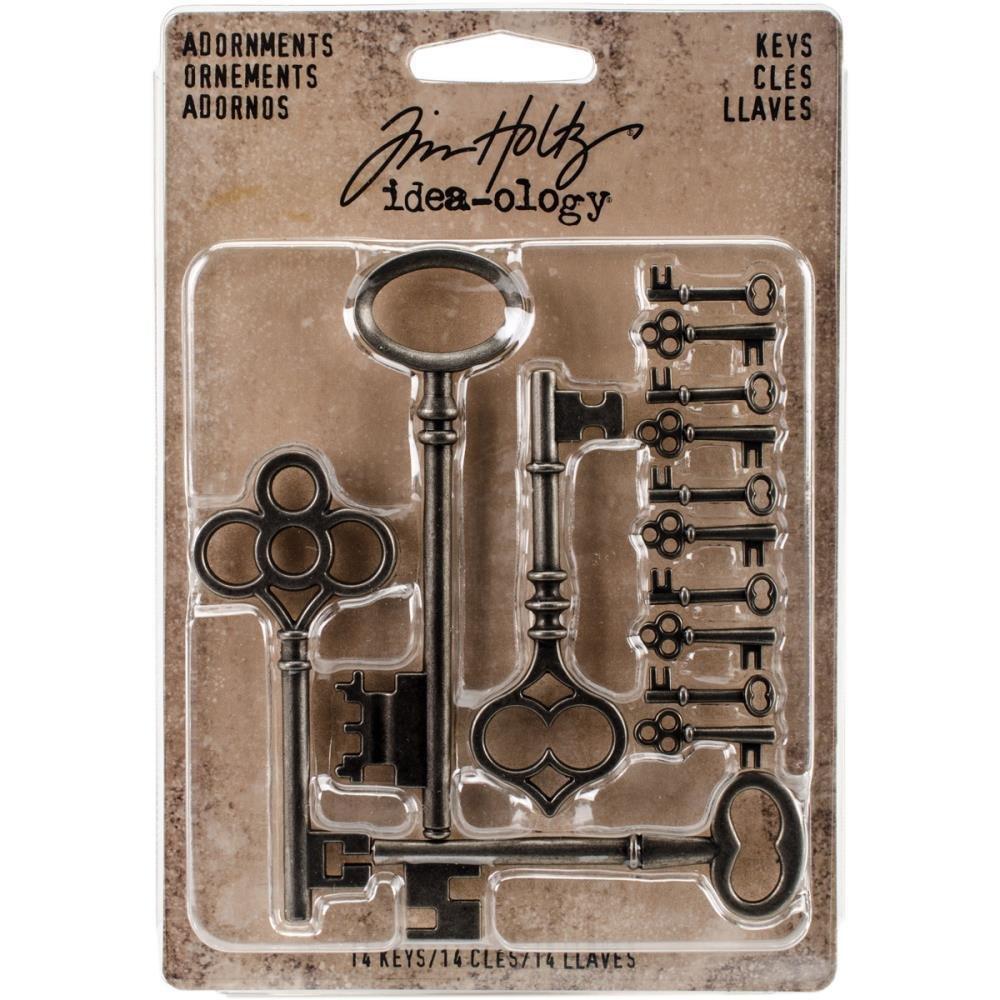 Tim Holtz Idea-Ology Metal Adornments Silver Keys