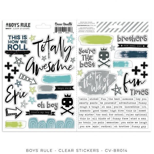 Cocoa Vanilla Boys Rule Clear Stickers