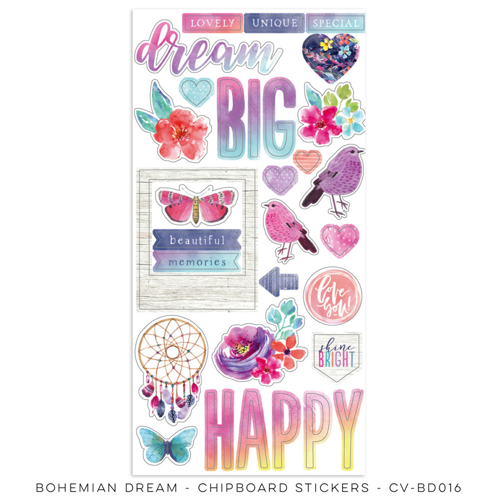 Cocoa Vanilla Bohemian Dream Chipboard Stickers