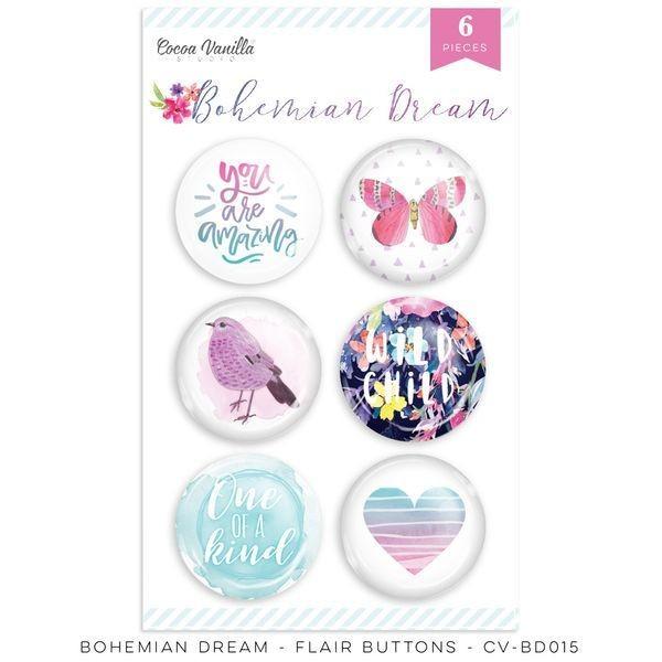 Cocoa Vanilla Bohemian Dream Flair Buttons