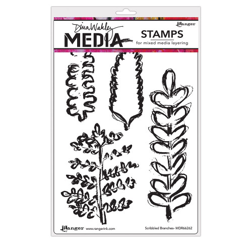 Dina Wakley Media Cling Stamps Scribbled Branches