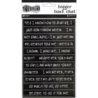 Dylusions Bigger Back Chat Stickers Black