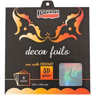 """Decor Foil 5.5""""X5.5"""" 5/Pkg Holographic Silver"""