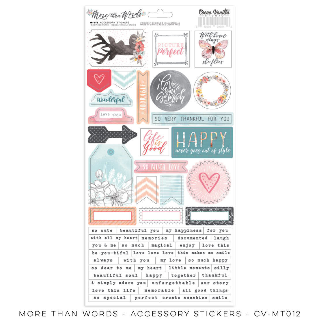 Cocoa Vanilla More Than Words Accessory Stickers