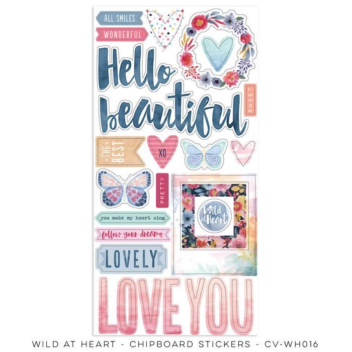 Cocoa Vanilla Wild Heart Chipboard Stickers