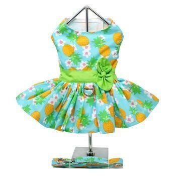 Pineapple Luau Dog Harness Dress with Leash