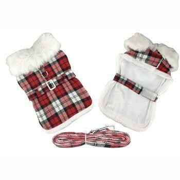 Red & White Plaid Dog Harness Coat