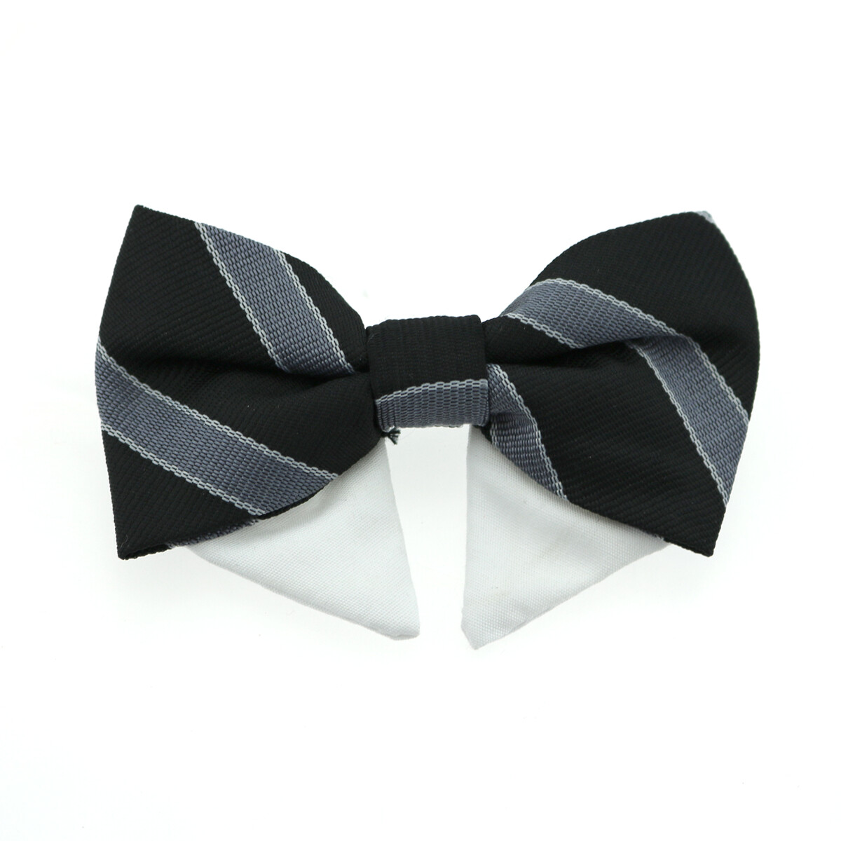 Universal Dog Bow Tie - Black and Silver Stripe