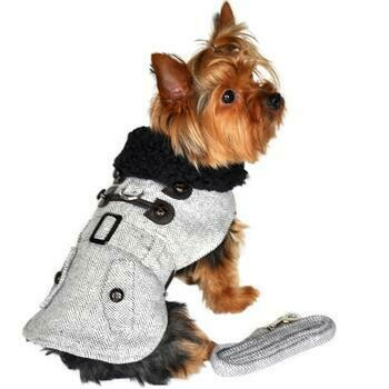 Grey Herringbone Designer Harness Coat and Matching Leash
