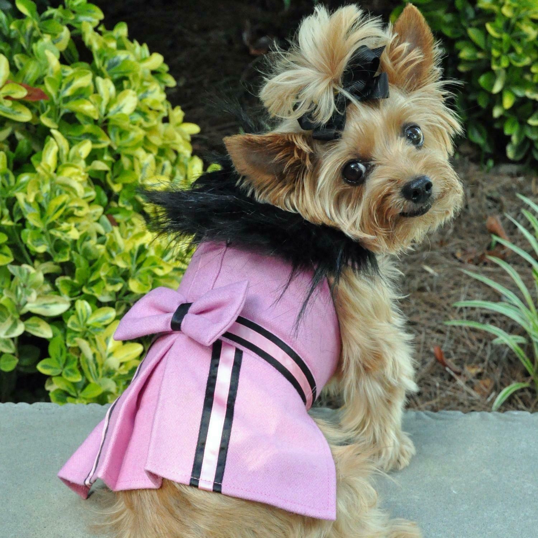 Wool Fur-Trimmed Dog Harness Coat (Pink)