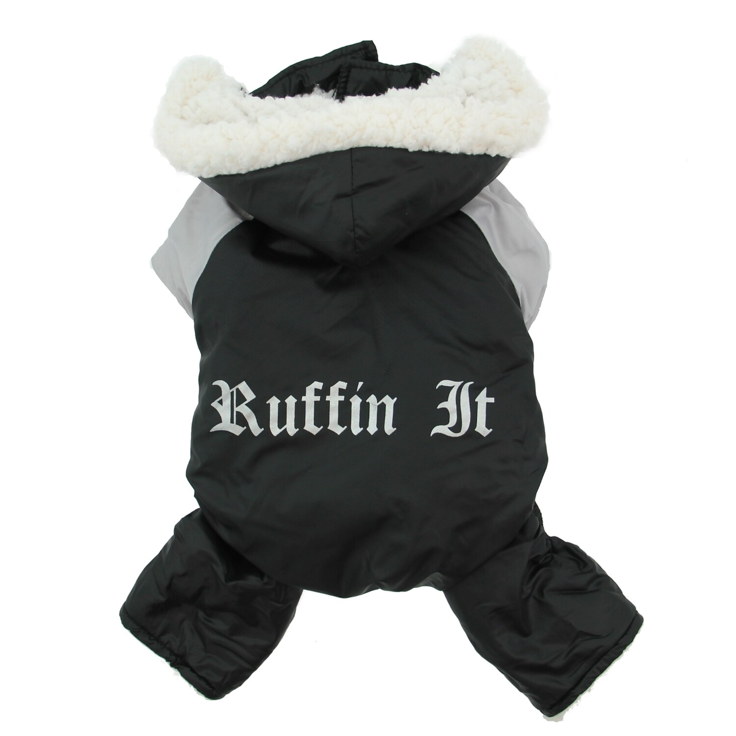 """Black and Grey """"Ruffin It"""" Dog Snowsuit Harness"""
