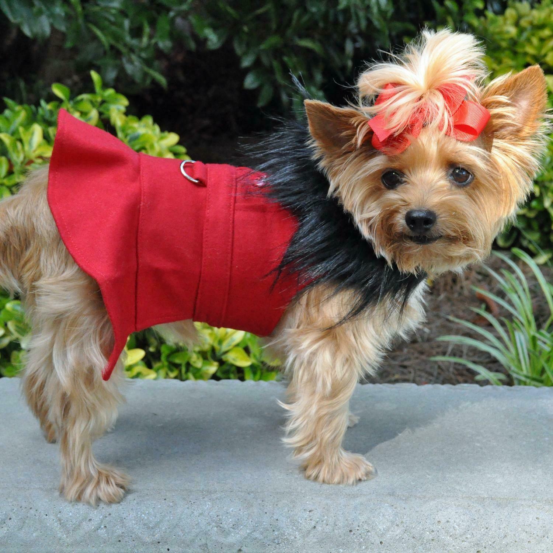 Wool Fur-Trimmed Dog Harness Coat (Red)