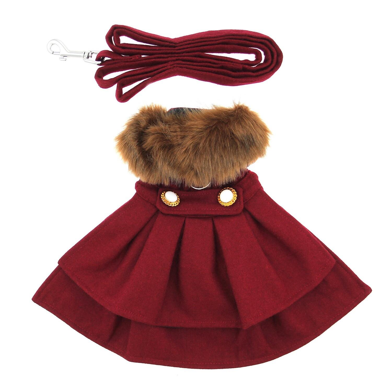 Wool Fur-Trimmed Dog Harness Coat (Burgundy)