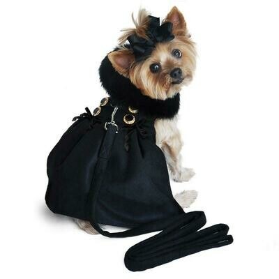 Wool Fur-Trimmed Dog Harness Coat (Black)