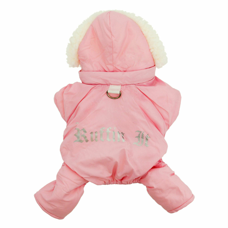 "Pink ""Ruffin It"" Dog Snowsuit Harness"