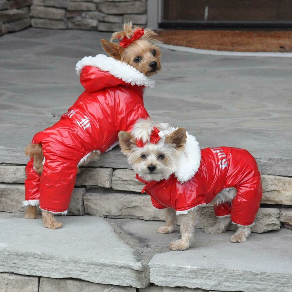 """Red """"Ruffin It"""" Dog Snowsuit Harness"""